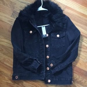 River Island Faux Fur Jean Jacket